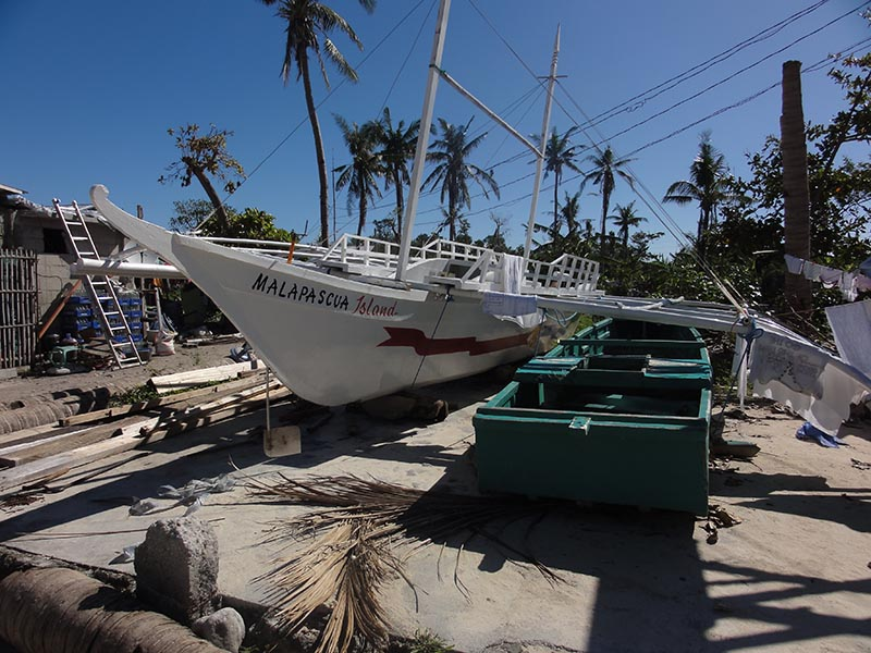 The local boats in the Philippines are called bangkas. We use one to conduct the marine habitat surveys