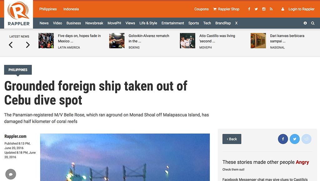 Grounded foreign ship taken out of Cebu dive spot