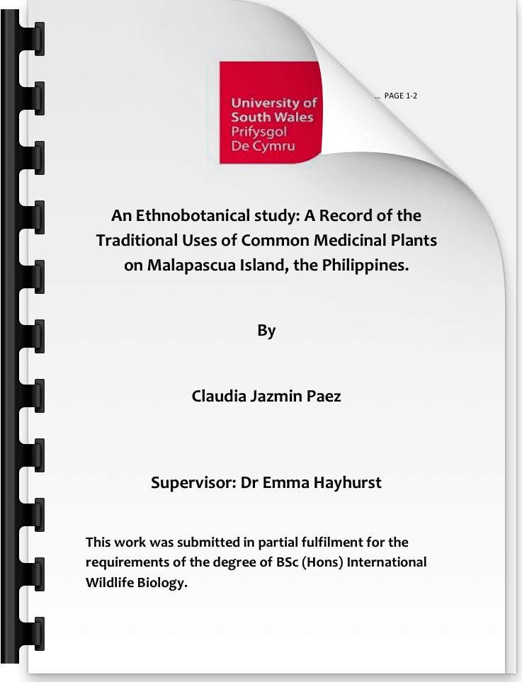 A study into the use of local plants for medicinal purposes in the Philippines